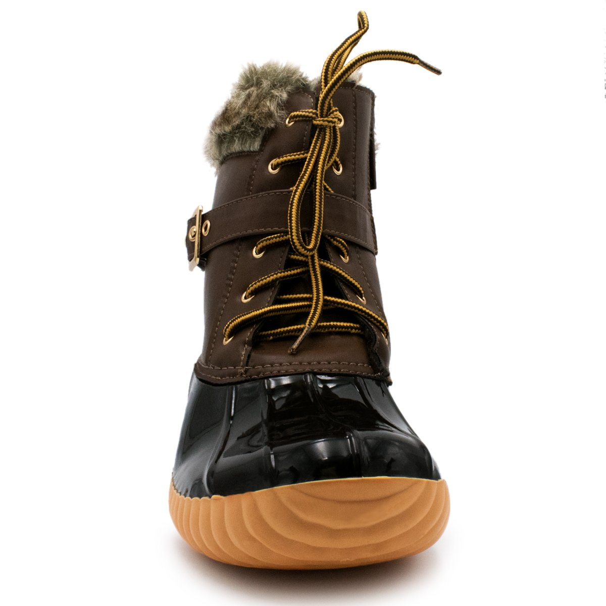 Nature Breeze Duck-01 Women's Chic Lace up Buckled Duck Waterproof Snow Boots B073T574Z5 7 B(M) US|Brown Pvc