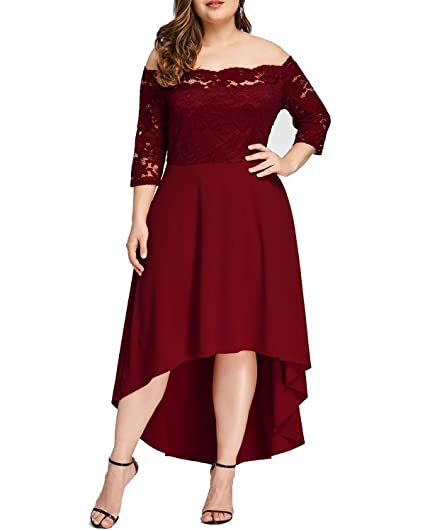 GAMISS Womens Vintage Off Shoulder Cocktail Dress Plus Size Floral Lace 3/4 Sleeves Wedding