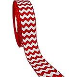 "50yd 1-1/2"" White Chevron Pattern Printed Christmas Red Grosgrain Ribbon"