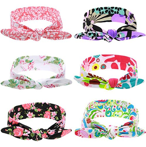 6Pcs Soft Cotton Turban Knot Hair Headband Rabbit Ears Bow Headbands Doubtless Bay