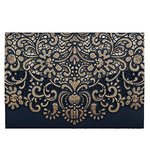 50 WISHMADE Gold Pattern Navy Blue Laser Cut Invitations for Wedding Anniversary Holiday Housewarming Birthday Quinceanera, Printable Invites with Envelopes AW8501 ()