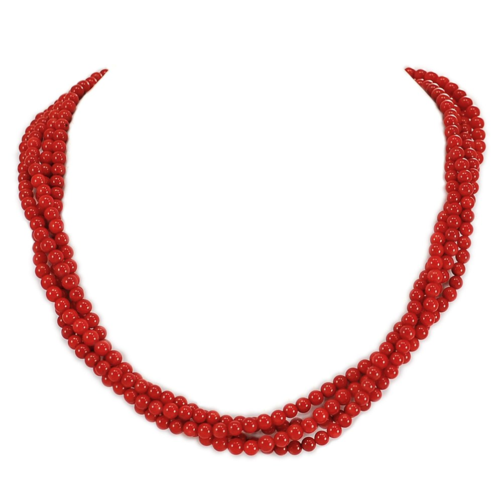 001 Ny6design 4-Strands Sea Blood Coral Beads Necklace w Silver Plated Toggle 18