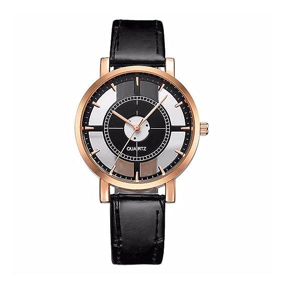 LONGQI - Reloj de pulsera para mujer, con esfera hueca y correa de piel sintética