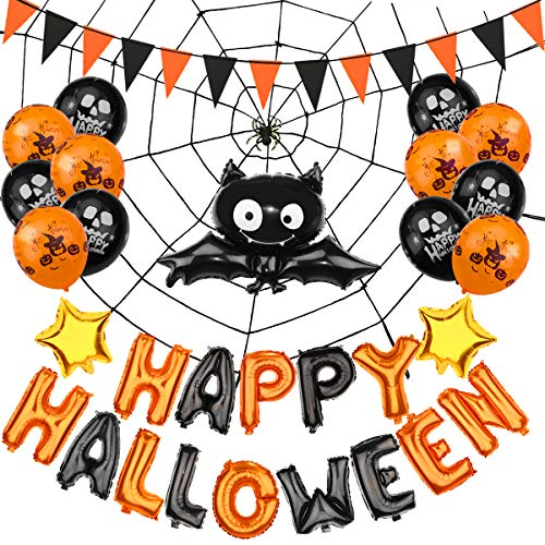 Halloween Party Decorations-Happy Halloween Letters,Gold Star Ballons,Hanging Paper