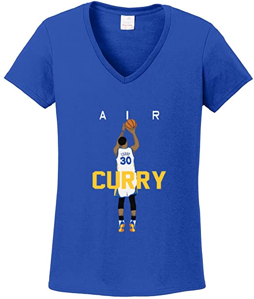 78c3d588f Prospect Shirts Blue Golden State Curry Air Pic Ladies V-Neck T-Shirt Adult