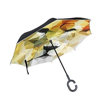 bennigiry abstracto dibujo vectorial de cabeza de león impresión Reverse coche paraguas, de doble capa