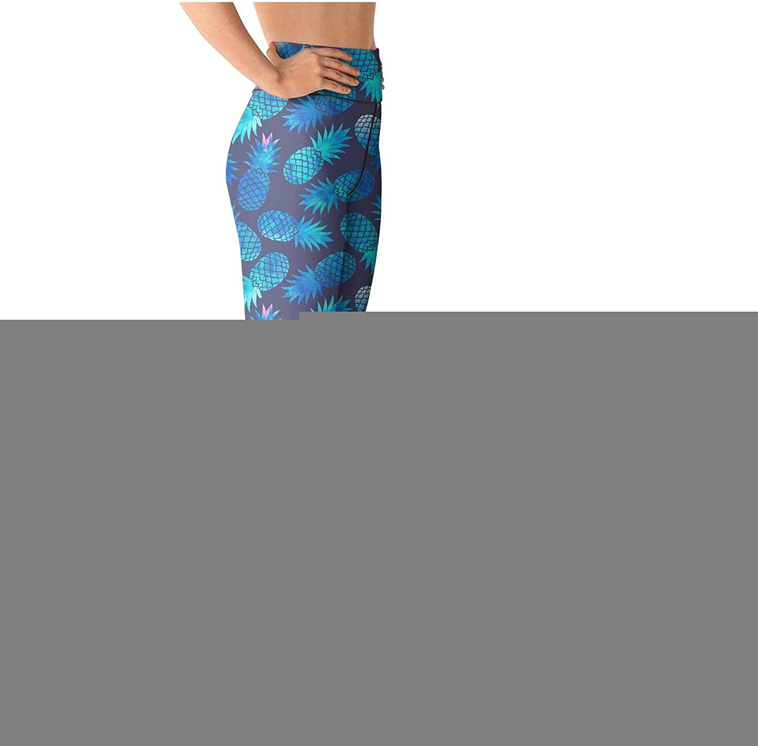 Leggins high Waisted Yoga Pants Training Athletic Tights Leggings Stretch Retro Comfort Pink and Blue Pineapple Purple