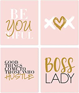 Designs by Maria Inc. Boss Lady (Unframed) Good Things Come to Those Who Hustle Fashionista Inspirational Set (8x10) (Option 2)