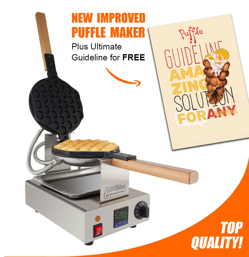 TOP Version Puffle Waffle Maker Professional Rotated Nonstick (Grill / Oven for Cooking Puff, Hong Kong Style, Egg, QQ, Muffin, Cake Eggettes and Belgian Bubble Waffles) (110V DIGITAL)