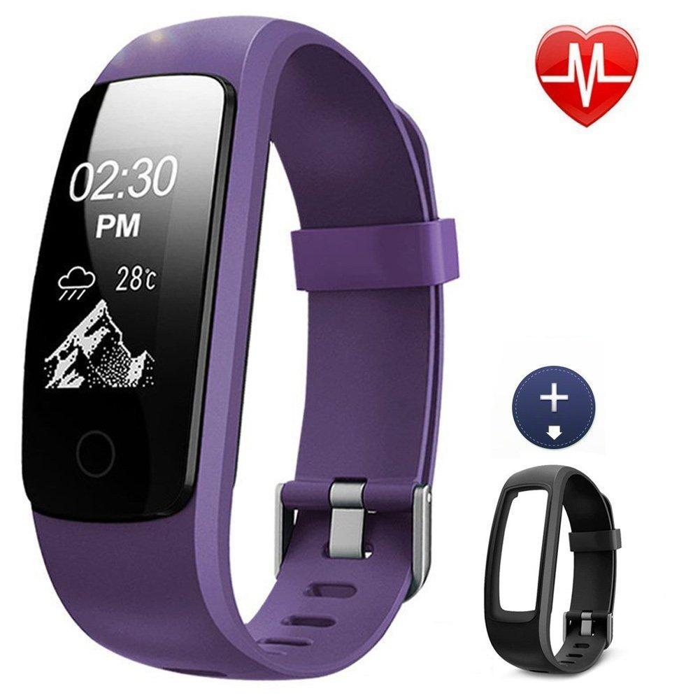 Lintelek Pulsera Actividad Violeta + 1 Correa Negro, Monitor de Ritmo cardíaco, sueño, GPS para Correr, Impermeable IP67, Cronómetro, Bluetooth 4.0 Compatible con iOS y Android, Violeta Monitor de Ritmo cardíaco sueño Cronómetro