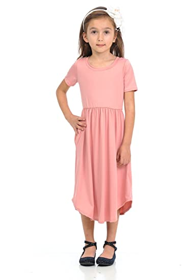 067117dc7e12a Pastel by Vivienne Honey Vanilla Girls' Short Sleeve Midi Dress with Pocket  and Easy Removable
