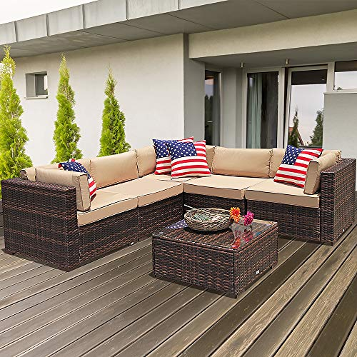- Super Patio 6 Piece Patio Furniture, All Weather PE Brown Wicker Patio Set Sofas with Glass Coffee Table, Steel Frame, Beige Cushions