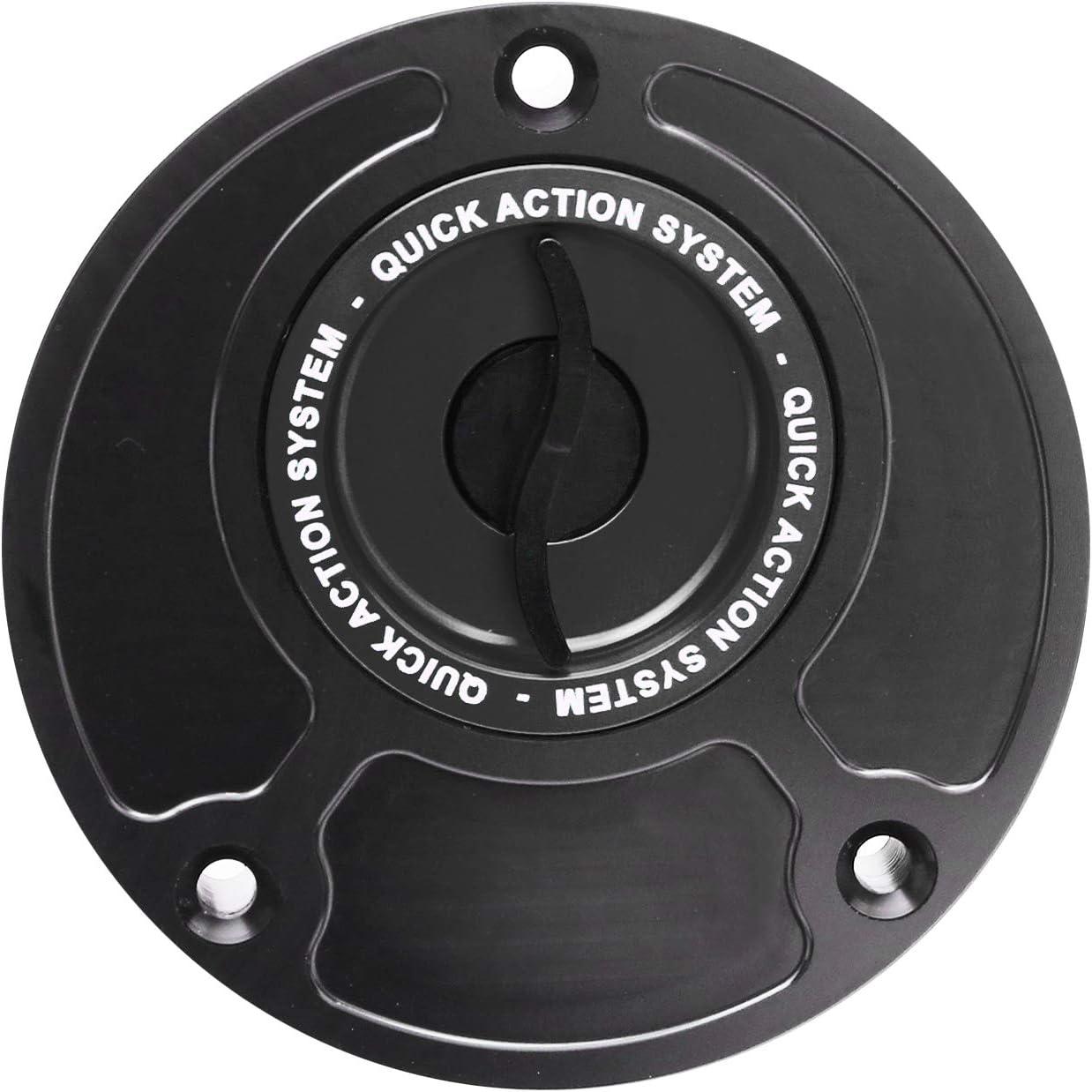 Black CNC Quick Lock Fuel Gas Cap For Kawasaki ZX 6RR 636 2003-2006 ZZR600 2005-2007 Ninja 650R 2006-2007