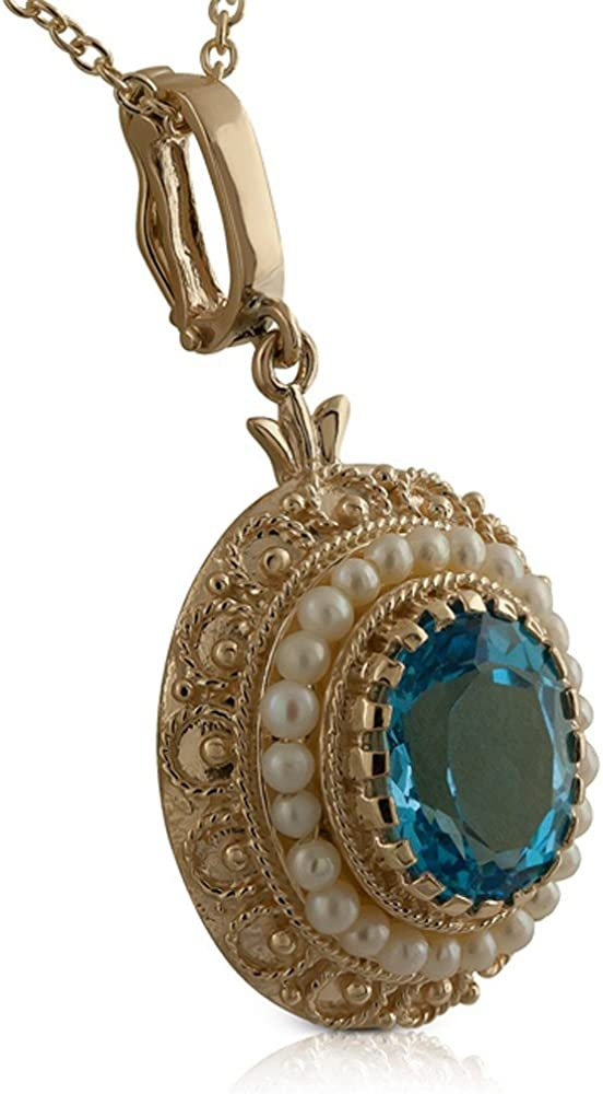 Details about  /Oval Cab Blue Topaz 925 Sterling Silver Vintage Style Pendant