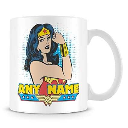 Personalised Name Mug - Wonder Woman Superhero Cup (Customise with Name)