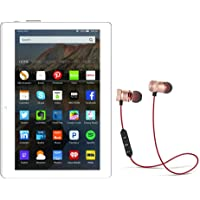 IKALL N10 Dual Sim 4G Calling Tablet with 10.1 inch Display (White-Gold, 2GB + 16GB) with Bluetooth Stereo Magnetic Headset
