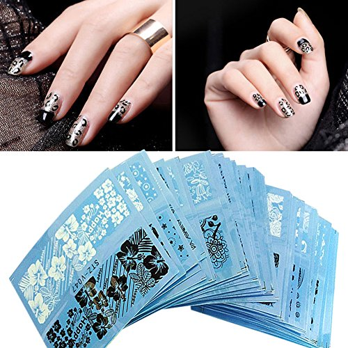 Chinatera 48 Sheets Nail Art Water Transfer Decal Lace Flower Sticker Black White Manicure