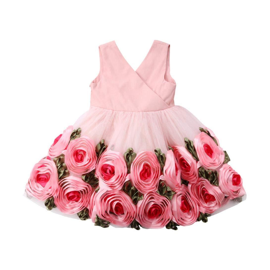 kaiCran Baby Clothes Girls,Fashion Girls Dress Rose Flower Bow Tie Party Wedding Princess Dress