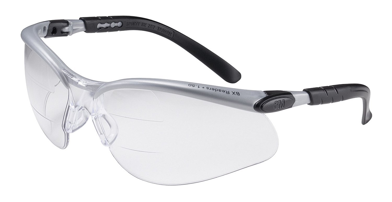 3M BX Dual Reader Protective Eyewear, 11459-00000-20 Clear Anti-Fog Lens, Silv/Blk Frame, 2.5 Top/Bottom Diopter (Pack of 1)