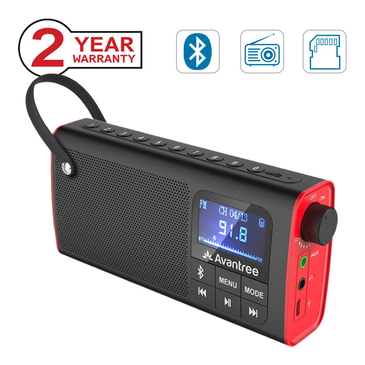Avantree 3-in-1 Portable FM Radio with Bluetooth Speaker and