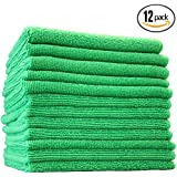 (12-Pack) 12 in. x 12 in. Commercial Grade All-Purpose Microfiber HIGHLY ABSORBENT, LINT-FREE, STREAK-FREE Cleaning Towels - THE RAG COMPANY (Green)