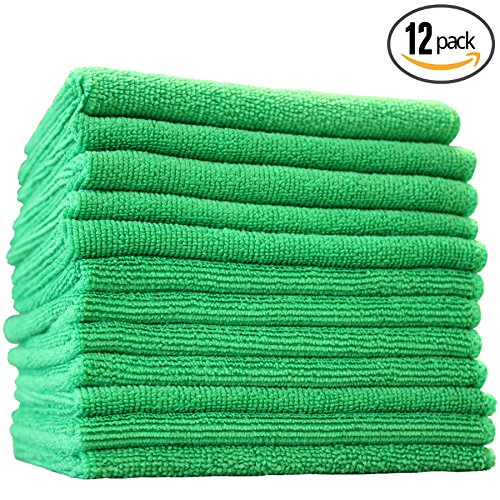 Green Cleaning Cloth - (12-Pack) 12 in. x 12 in. Commercial Grade All-Purpose Microfiber HIGHLY ABSORBENT, LINT-FREE, STREAK-FREE Cleaning Towels - THE RAG COMPANY (Green)