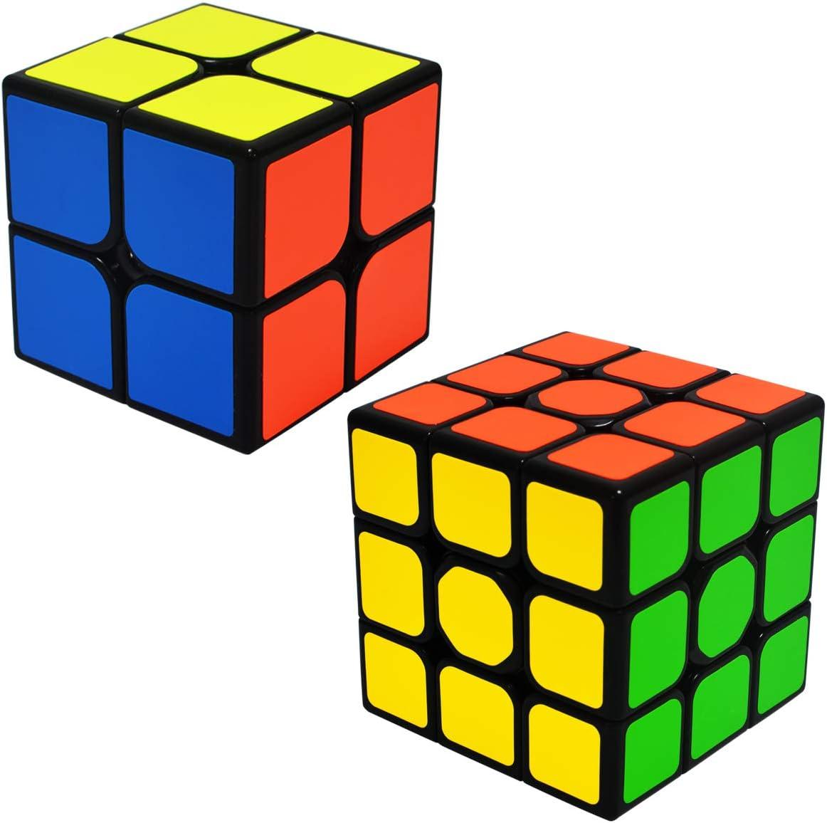 EASEHOME Speed Magic Cube Set 2x2x2 + 3x3x3, 2 Pack Puzzle Cubes Rompecabezas Cubo Mágico PVC Pegatina para Niños y Adultos: Amazon.es: Juguetes y juegos