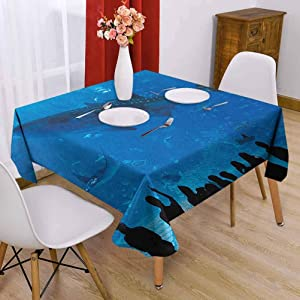 Shark Square Tablecloth Modern 60 x 60 inch Japanese Aquarium Park with People Silhouettes Watching Underwater Life Hobby Image for Friends Blue Black