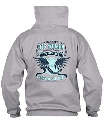 53e35609 Amazon.com: Man Expects His Woman to Be an Angel Hoodies, I Love Mom ...