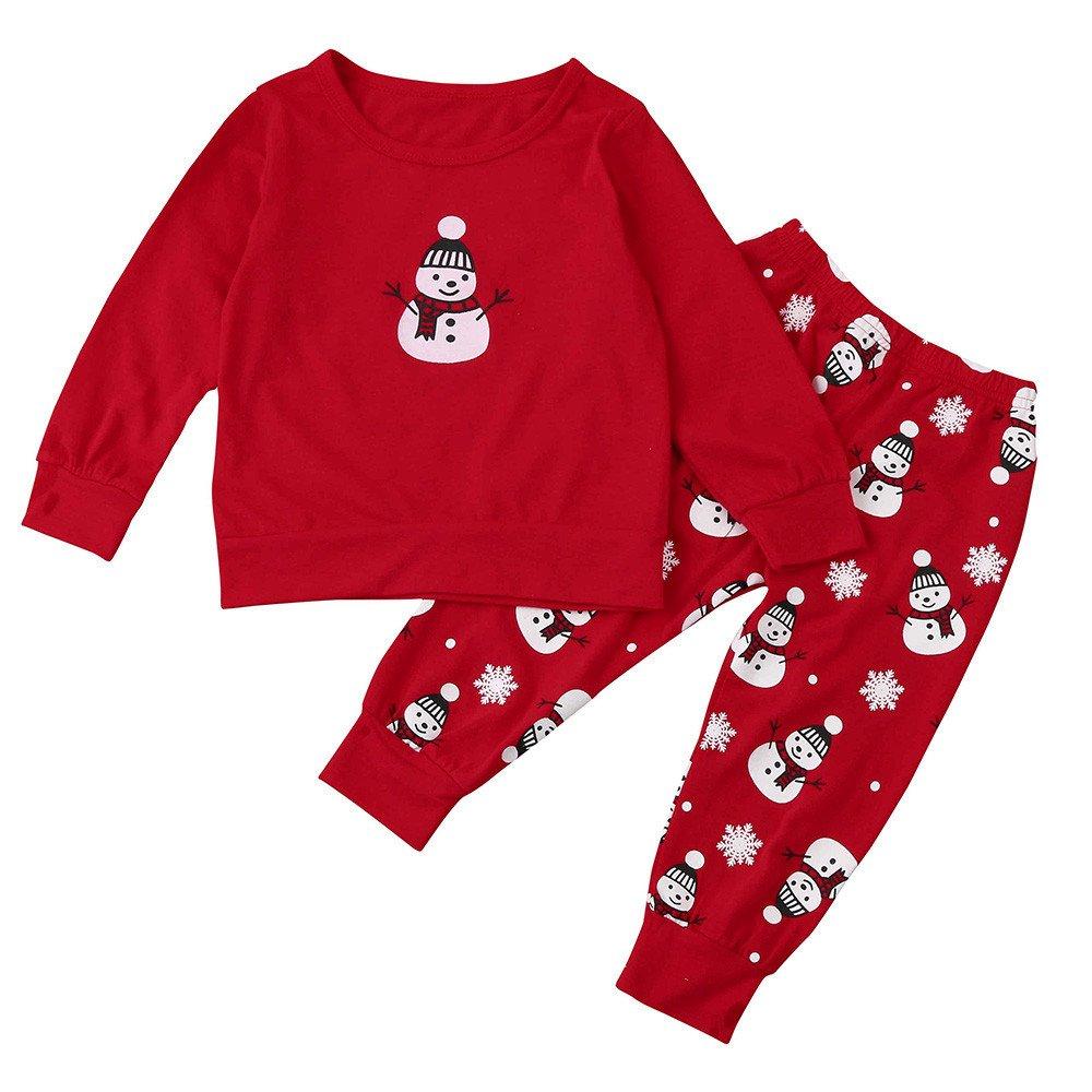 FRAUIT Bambino Bambini Set di Natale Felpe Pullover per Bambini Vestiti Casuali dei Bambini Bambino Abbigliamento Stampa di Pupazzo di Neve di Natale Manica Lunga Tops + Pantaloni