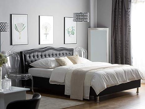 Supply24 Designer Barock Leder Bett Unicorn Einhorn Schwarz