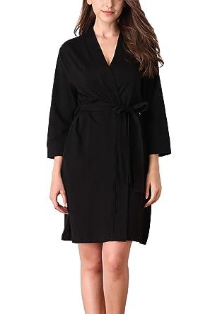 15f09c070557a Giorzio Womens Cotton Robe Soft Kimono Robes Knit Bathrobe Loungewear  Sleepwear Short,Black S .