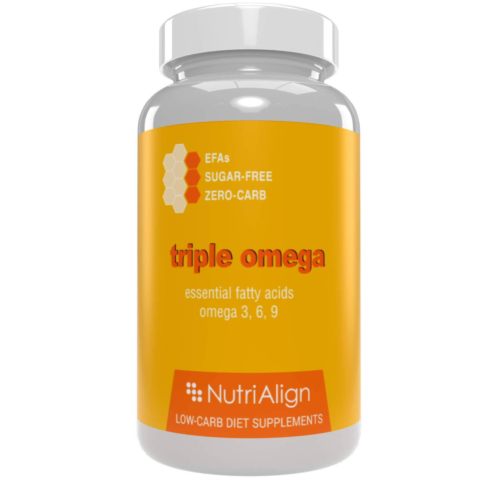 Nutri-Align Triple Omegas: Low-Carb Diet Supplement. Essential Omega Oils 3, 6 and 9 | Zero-carb. 90 Capsules.