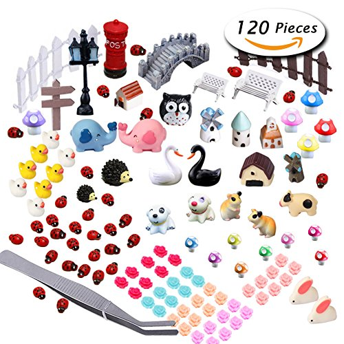 Garden Fairy Doll (Paxcoo 120 Pcs Fairy Garden Miniature Ornaments Kit for DIY Dollhouse Décor)