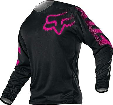 Large Black//Pink Fox 2018 Racing Youth Girls Blackout Jersey-YL
