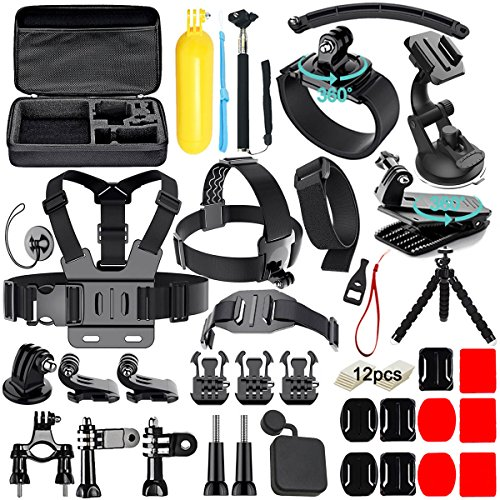 Iextreme 50 in 1 Action Camera Accessories Kit for GoPro Hero 2018 GoPro Hero7 6 5 4 3 with Carrying Case/Chest Strap/Octopus Tripod