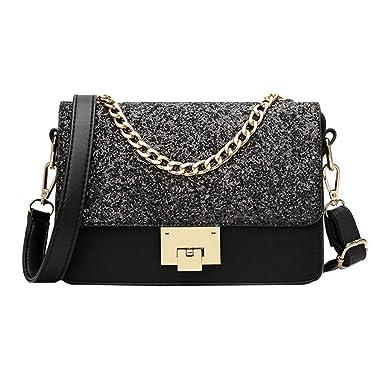 13f9dedc2378 Amazon.com  Goodbag Boutique Women Sparkly Sequin Chain Tote Handbag Clutch  Girl Exquisite Shoulder Crossbody Bag Black  Clothing