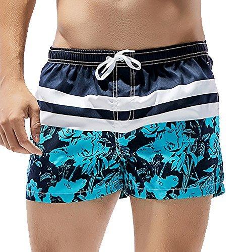 Boxer Low Short Rise Mens (Feelingwear Mens' Stripes Tropical Short Swim Trunks Low Rise Swimming Briefs Boxer Shorts Bathing Suit With Mesh Lining Blue Size US L/Tag XL)