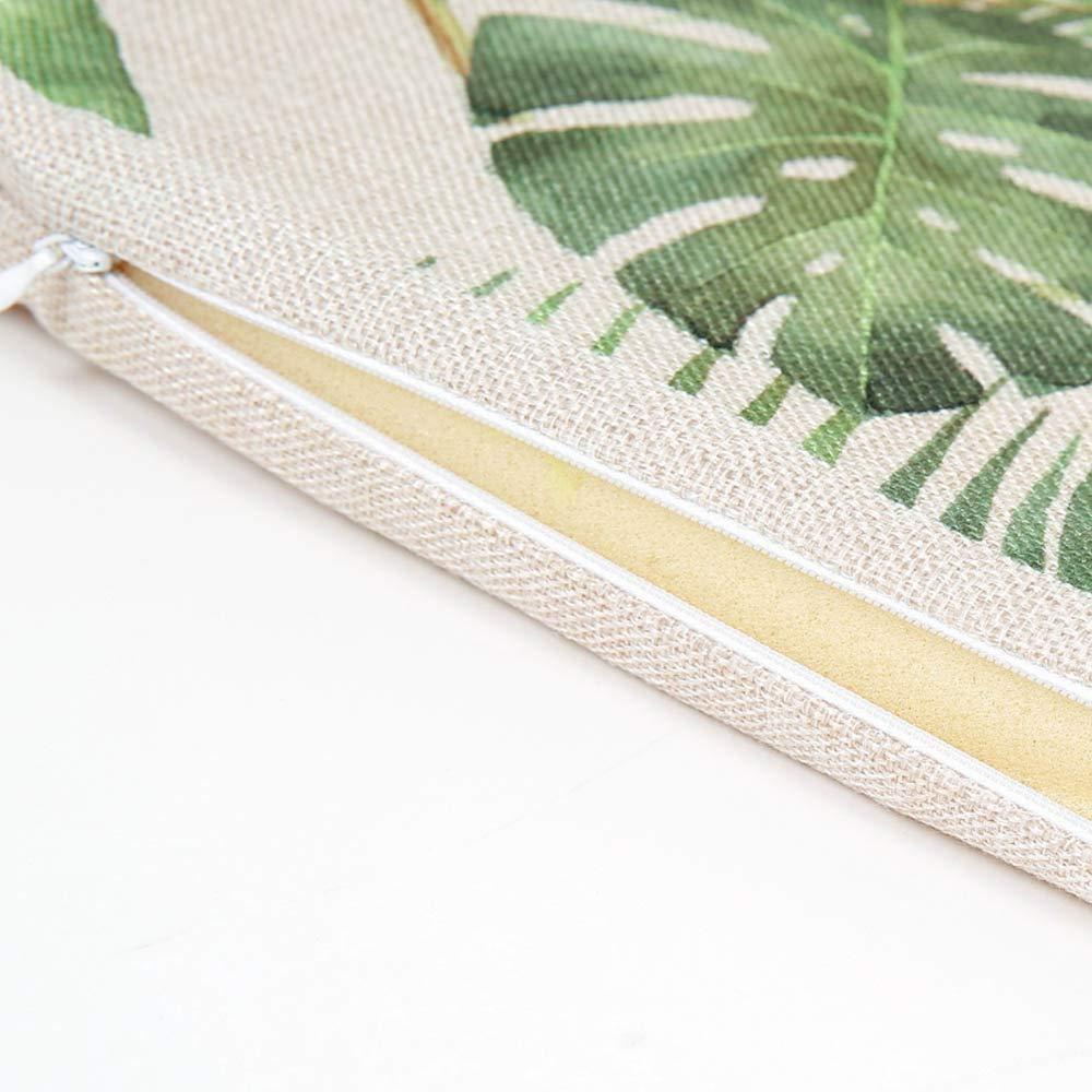 Roblue Cuscino Decorativo Stampato con Foglie Confortevole 40 x 40 cm Cuscino da Giardino 40x40cm Morbido Color/é 2 in Lino