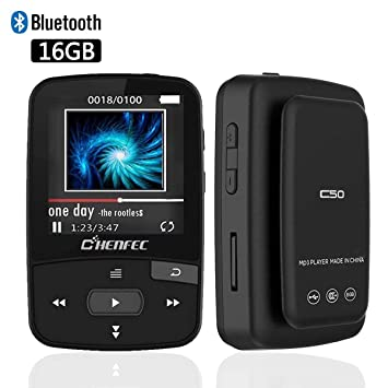 51c9b2f76ed112 ChenFec Bluetooth MP3 Player 16GB Clip Sport Portable Lossless Sound Hi-Fi  Music Player With