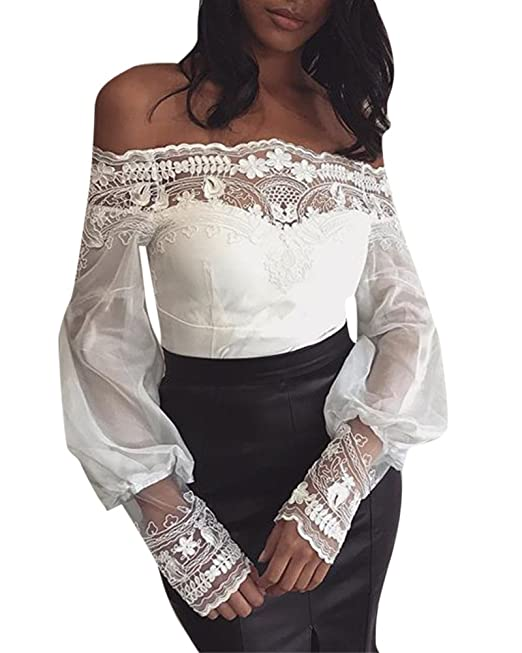 Anyu Camisas de Encaje Mujer Camiseta Blancas Fiesta Tops Sin Tirantes Elegante Blusa de Manga Larga