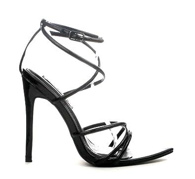 cc4749ac60bb Michelle Parker Cape Robbin ADA Black Super Strappy Pointy Open Toe Ankle  Strap Stiletto Heel (