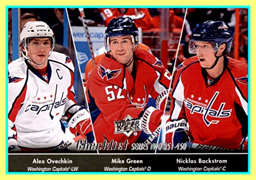 2010-11 Upper Deck #450 Nicklas Backstrom Alex Alexander Ovechkin Mike Green Unmarked Checklist Washington Capitals pictured