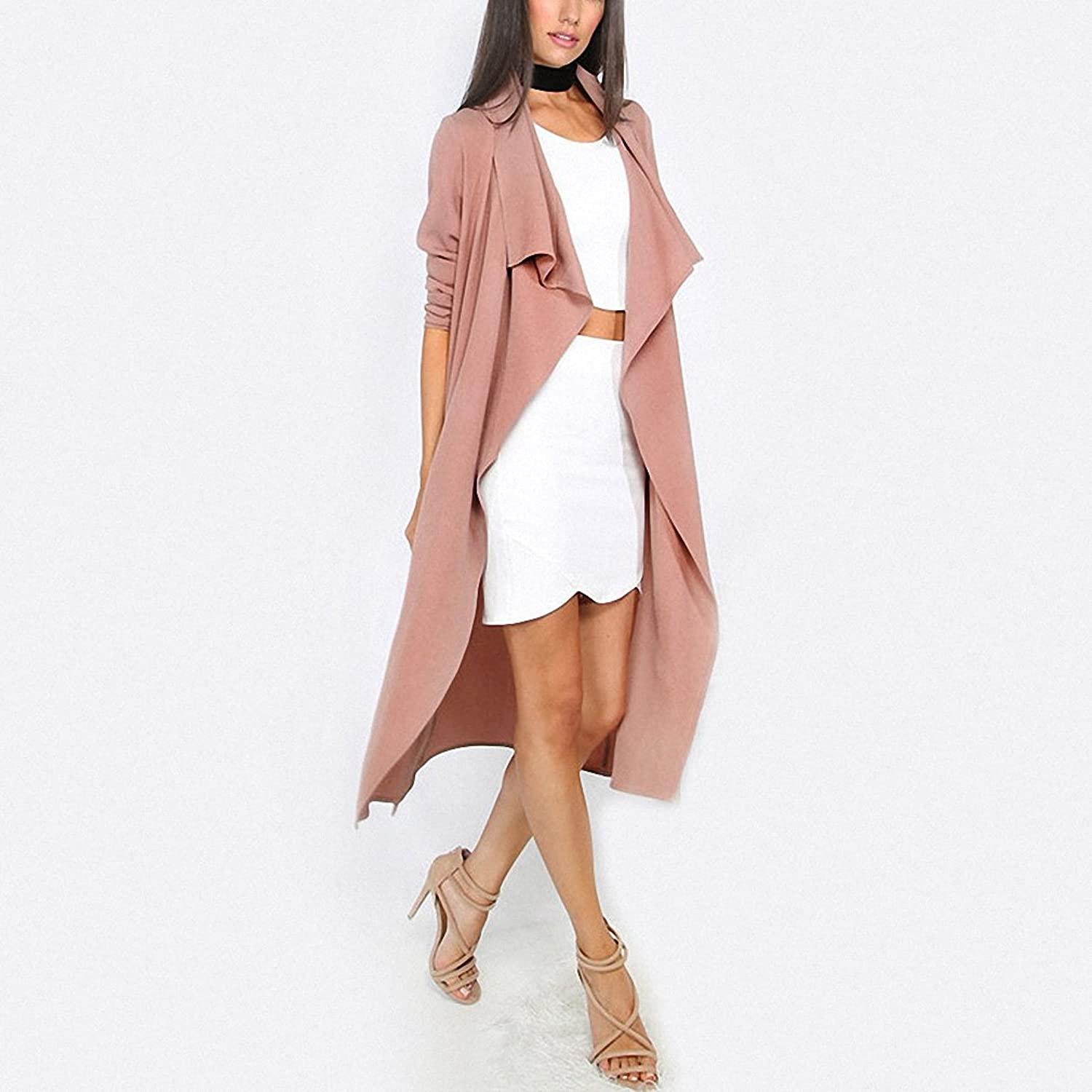 Amazon.com: SheIn Autumn Womens New Fashion Coffee Lapel Long Sleeve Trench Coat Ladies Open Front Tie Waist Casual Long Outerwear Coats: Clothing