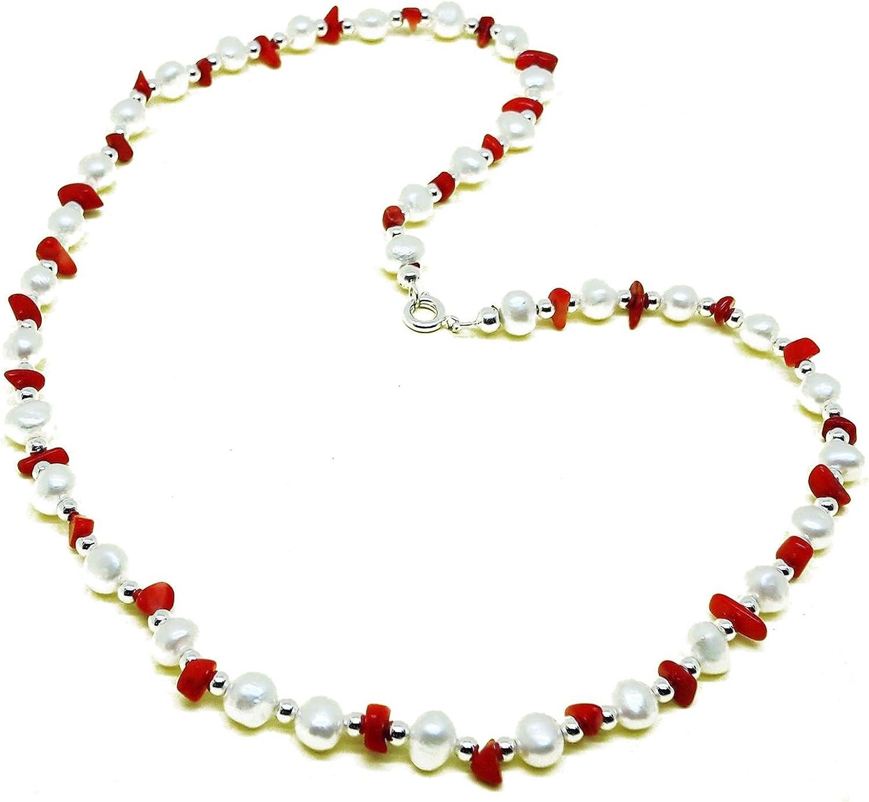 El Coral Collar Perlas Blancas, Chips Rojo y Bolas Plateadas alternadas