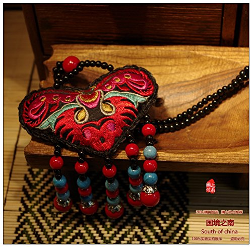 TKHNE South border Yunnan ethnic characteristics jewelry hand-embroidered purse Yi beaded necklace (Beaded Border Earrings)