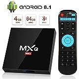 Android 8.1 TV Box, Superpow MXQ MAX Smart TV Box Quad Core 4GB RAM+64GB ROM, BT 4.1, 4K*2K UHD H.265, HDMI, USB*3, WiFi Media Player, Android Set-Top Box con Voice Remote Control (1)