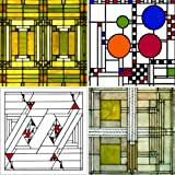 CoasterStone AS305 Absorbent Coasters, 4-1/4-Inch,''Frank Lloyd Wright Art Glass Designs'', Set of 4