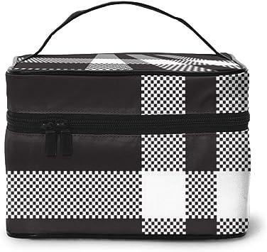 Bolsas de cosméticos de Viaje Organizador de Maquillaje de Tela Cuadrada de Cuadros Blancos y Negros, Bolsa de Aseo, para Pinceles, Estuche para lápices: Amazon.es: Equipaje