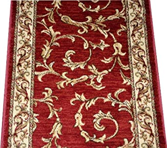 Amazon Com Dean Red Scrollworks Carpet Rug Hallway Stair